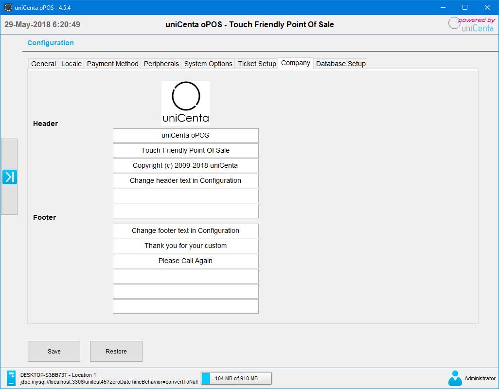 uniCenta oPOS Company details Configuration