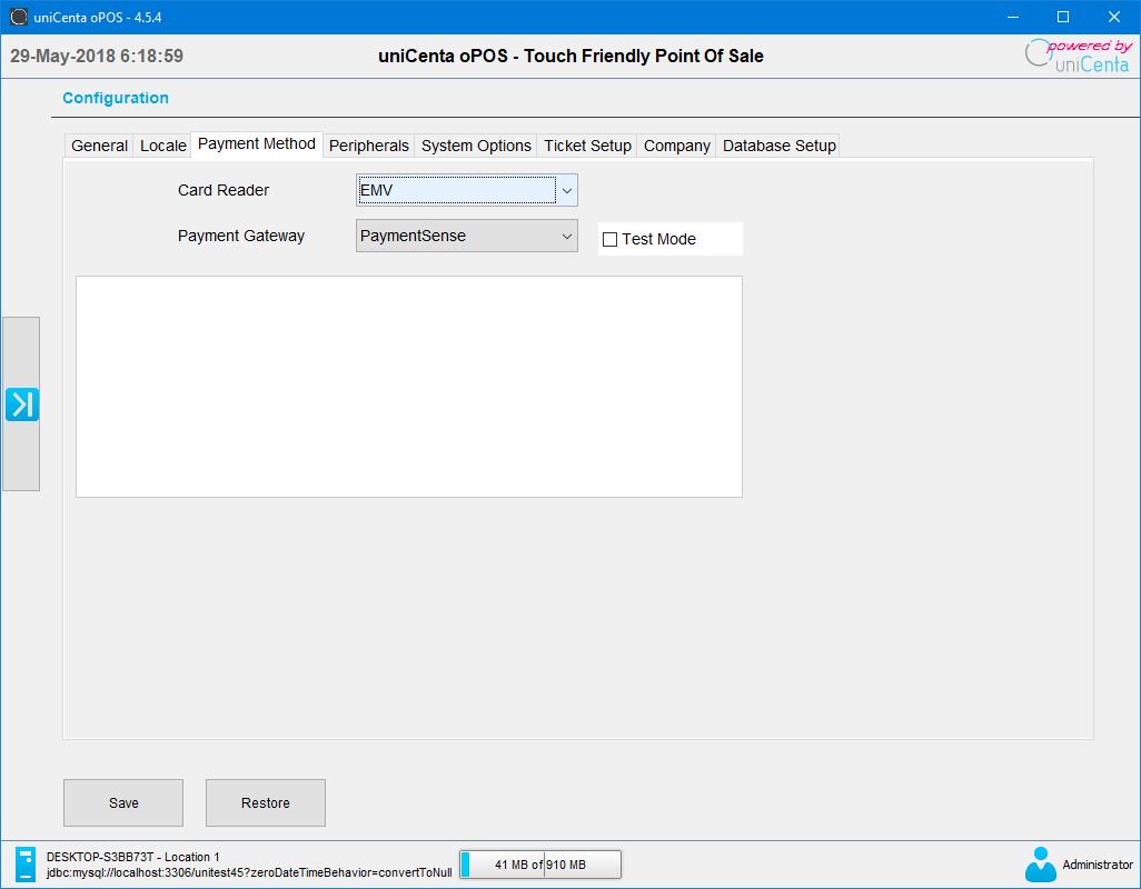 uniCenta oPOS Payment Method Configuration