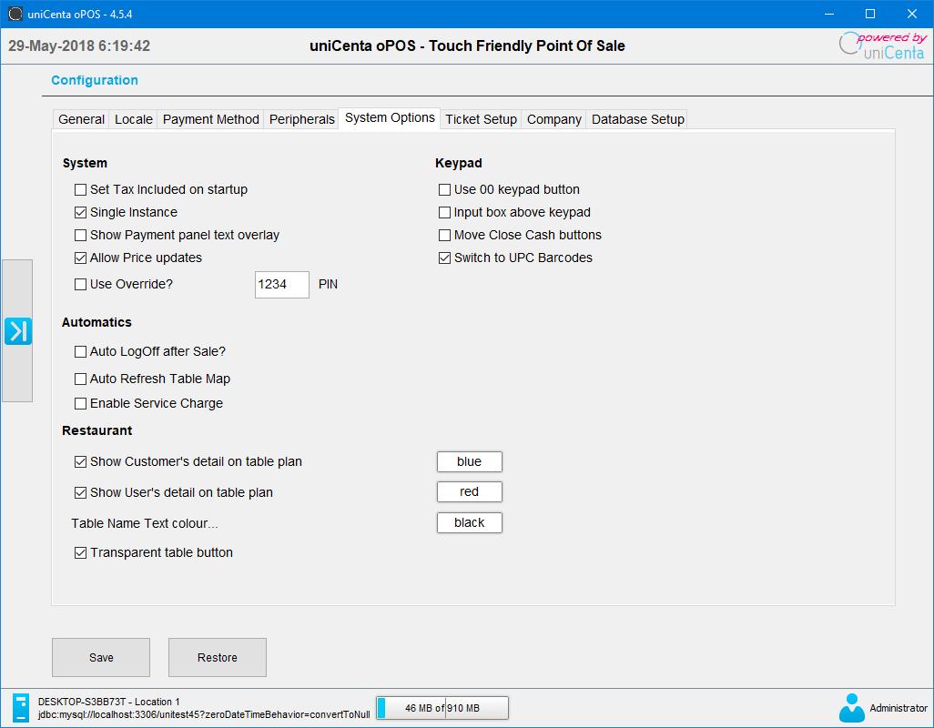 uniCenta oPOS System Options Configuration